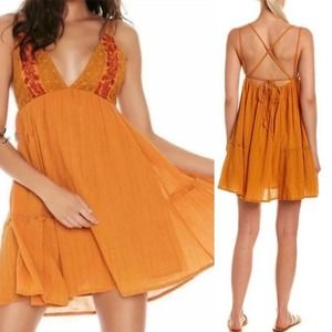 L*Space | Yellow Crochet Embroidered Sun Dress